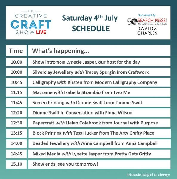 Creative Craft Show Live schedule Saturday 4th July 2020