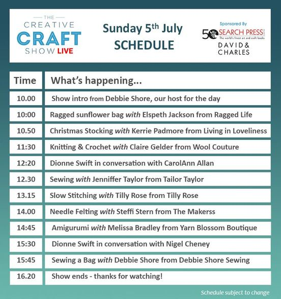 Creative Craft Show Live schedule Sunday 5th July 2020