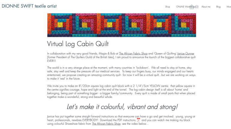 Virtual Log Cabin Quilt page from Dionne's website