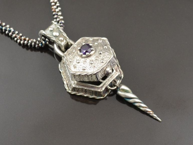 Silver clay necklace with purple stone
